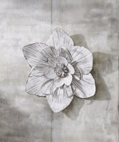 """14"""" Antique White finish Flower Metal Wall Plaque"""