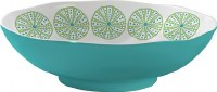 "11"" Round Turquoise and Green Urchin Vinyl Bowl"