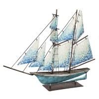 "31"" Blue Sailboat With Mosaic Sails Figure"