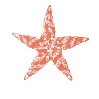 "17"" Coral With White Metal Starfish Wall Plaque"