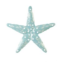 "17"" Green With White Metal Starfish Wall Plaque"
