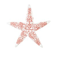 """17"""" White With Coral Metal Starfish Wall Plaque"""