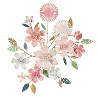 """35"""" Pink and White Metal Flower Wall Plaque"""