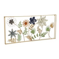 """21"""" x 46"""" Multicolored Flowers Metal Wall Plaque"""
