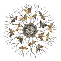 """30"""" Round Gold and Blue Butterfly Silver Branch Wall Plaque"""