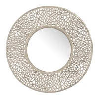 "32"" Round Silver Metal Wall Mirror"
