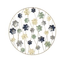 """31"""" Round Blue, Green and Antique White Finish Flowers Wall Plaque"""