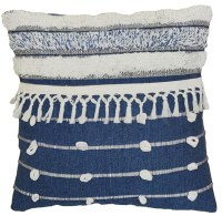 "18"" Square Blue and White Stripe Fringed Pillow"