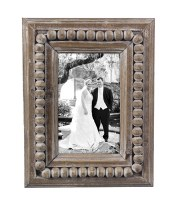 "4"" x 6"" White Washed Finish Beaded Wooden Picture Frame"