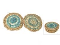 "Set of 4, 5"" Round Light Aqua Seagrass Coasters"