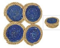 """Set of 4, 5"""" Round Dark Blue Seagrass Coasters"""