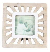 "4"" x 4"" White Washed Rays Openwork Picture Frame"