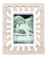 "5"" x 7"" White Washed Rays Openwork Picture Frame"