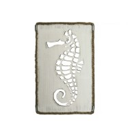"22"" x 14"" White Washed Finish Seahorse Rope Framed Wall Plaque"
