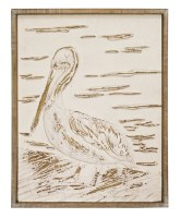 "23"" x 18"" White Washed Finish Wooden Pelican Wall Plaque"