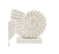 "7"" White Washed Finish Wooden Nautilus"
