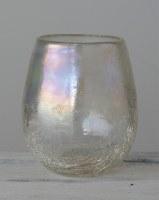 "6"" Iridescent Crackle Glass Hurricane"