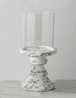 "14.5"" Antique White Finish Pillar Candle Holder With Glass Shade"