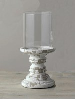 """12"""" Distressed White Finish Pillar Candle Holder With Glass Shade"""