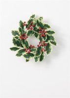 "4.5"" Opening Faux Variegated Holly Candle Ring"