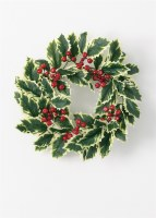 "6.5"" Opening Faux Variegated Holly Candle Ring"