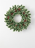 """24"""" Faux Variegated Holly Wreath"""