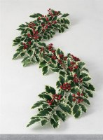 """5"""" Faux Variegated Holly Garland"""