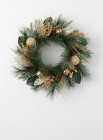 """24"""" Faux Gold Bell Pine Wreath"""