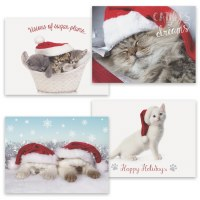 "Box of 16, 8"" x 6"" Assorted Cat Christmas Cards"