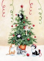 "7"" x 5"" Box of 18 Holiday Cats In Christmas Tree Cards"