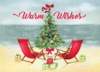 "5"" x 7"" Box of 18 Warm Wishes Red Chair Beach Scene Cards"