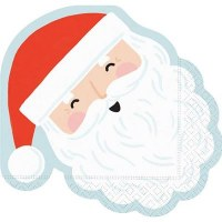 Pack of 16 Mr. Claus Die Cut Lunch Napkins