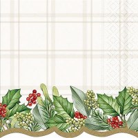 """6.5"""" Square Holly Garland Lunch Napkins"""
