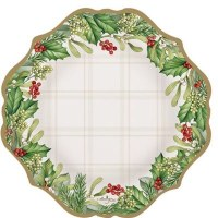 """Pack of 6 7"""" Round Holly Garland Plates"""