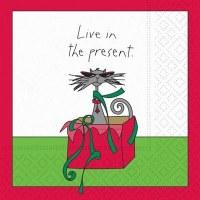 "5"" Square Cat Live in the Present Beverage Napkin"