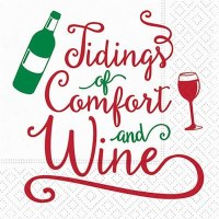 """5"""" Square Tidings of Comfort and Wine Beverage Napkins"""