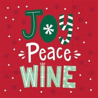 """5"""" Square Red and Green Joy Peace Wine Beverage Napkin"""