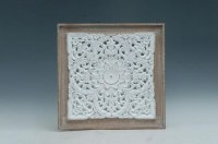 "24"" Square White Openwork Design With Wooden Frame Wall Plaque"