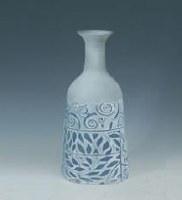 "17"" Blue and White Swirl Design Metal Vase"