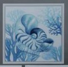 "24"" Square Blue and White Nautilus Framed Canvas"
