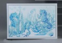 "20"" x 28"" Blue and White Seahorse Framed Canvas"