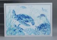 "20"" x 28"" Blue and White Turtle Framed Canvas"