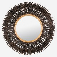 "47"" Round Black Vine Branch Ray Mirror"