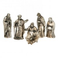 Set of 6 Ivory and Silver Nativity Set