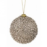 """4"""" Champagne Beaded Ball Ornament"""