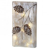 "13"" LED Pine Cone Glass Vase"