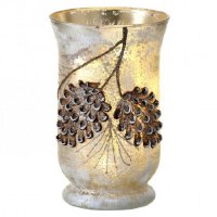 "8"" LED Pine Cone Glass Vase"