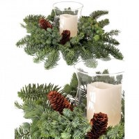 """14"""" Green Faux Pine Mix Centerpiece With Glass Hurricane"""