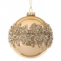 """4"""" Champagne With Pearls Glass Ball Ornament"""