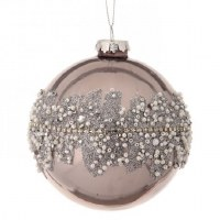 """4"""" Platinum With Pearls Glass Ball Ornament"""